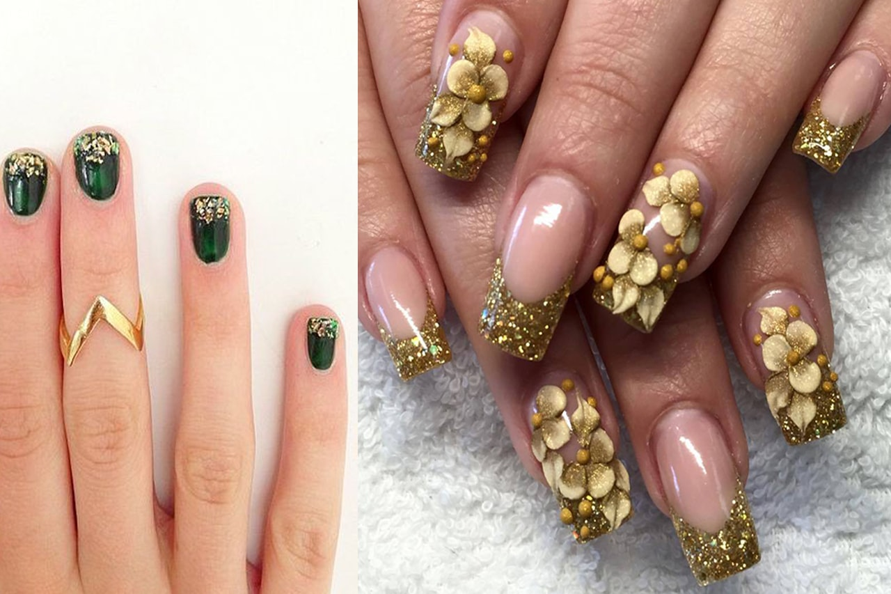 glitter-nail-polish-with-gold-stylish-look