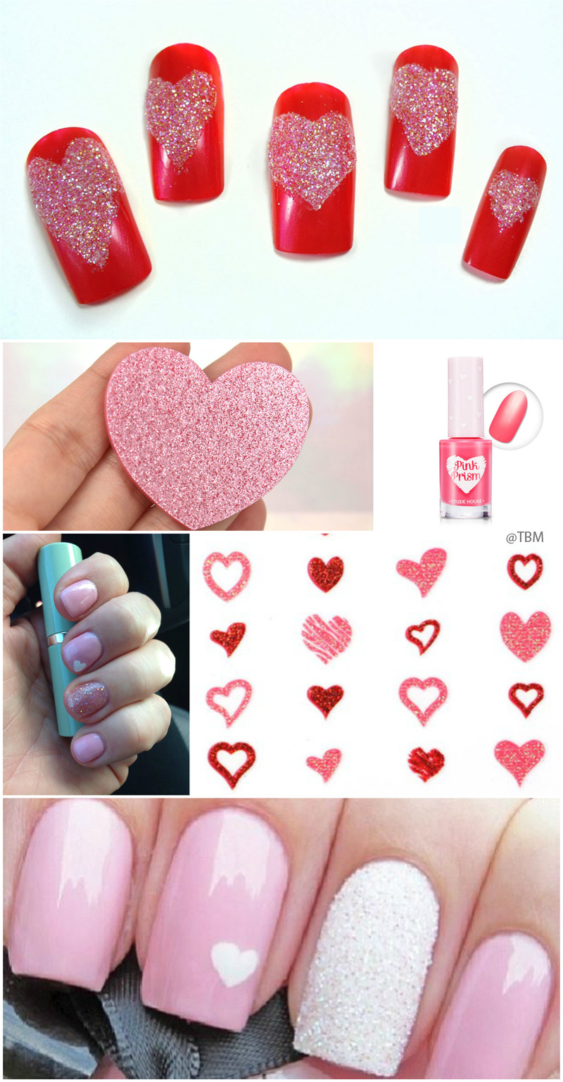 pink-glittery-heart-nails