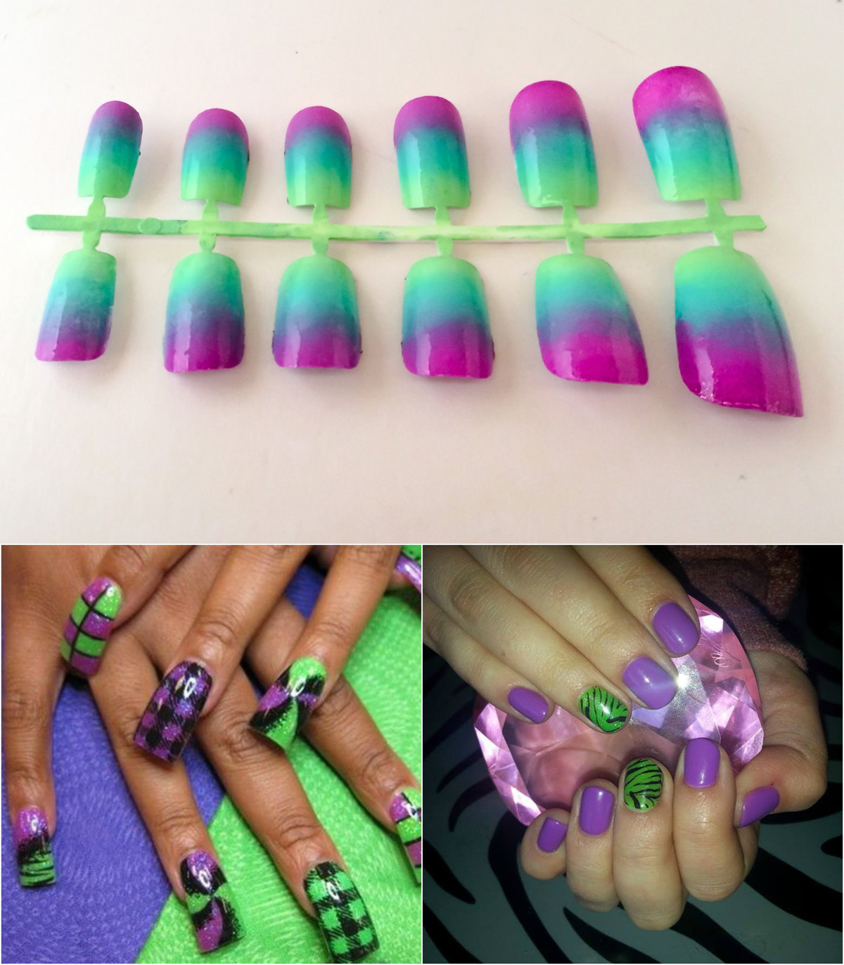 purple-and-green-ombre-nail-design