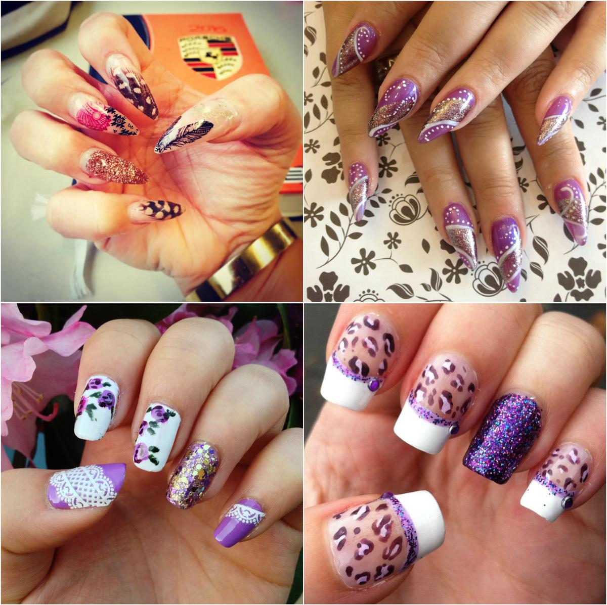 purple-with-white-lace-stiletto-nail-art