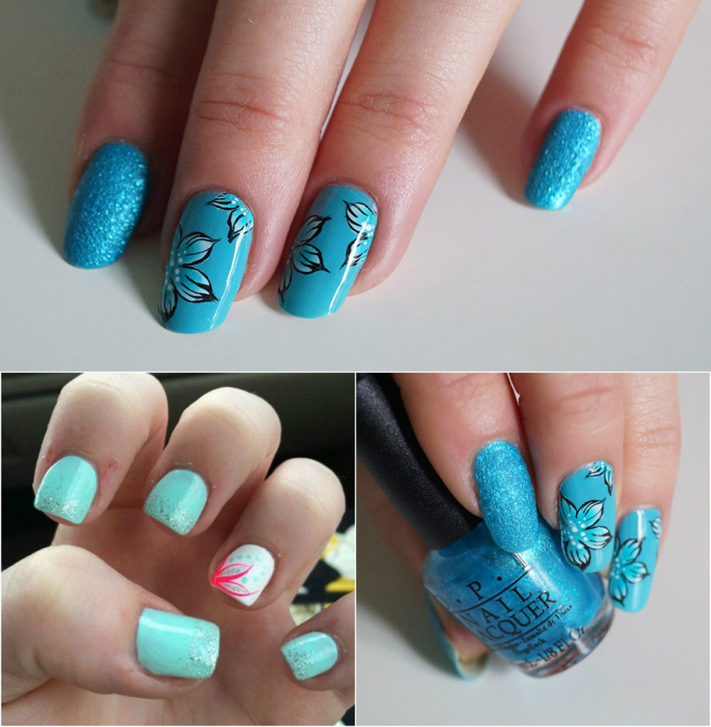striking-one-stroke-feather-nail-design