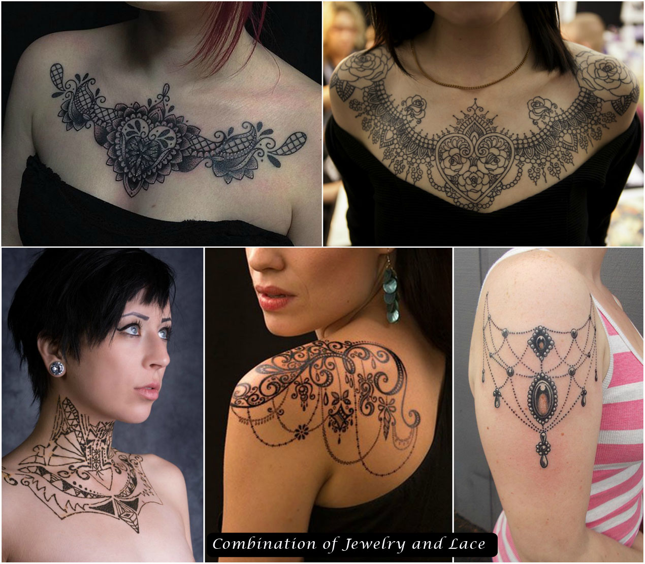 Combination of Jewelry and Lace