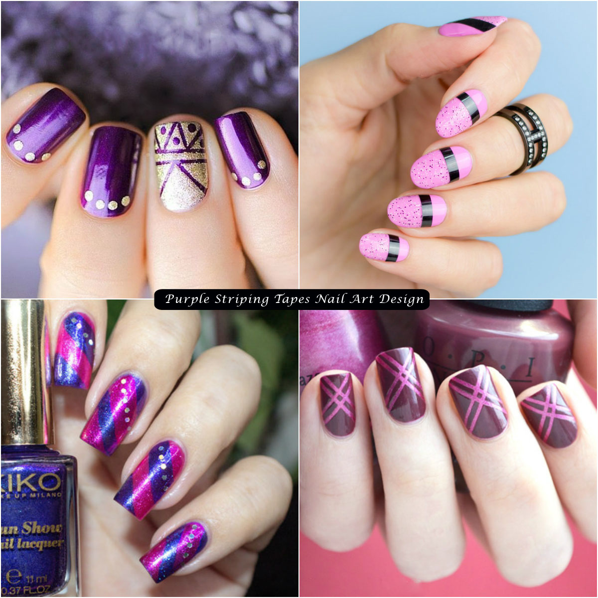 Purple Striping Tapes Nail Art Design