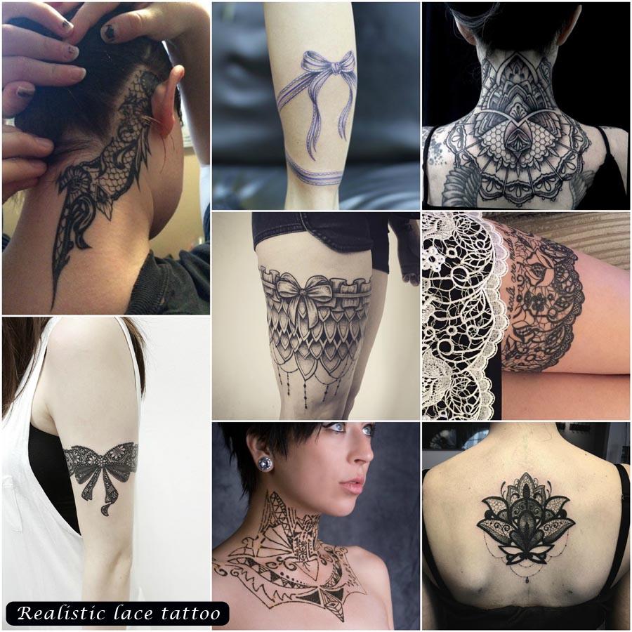 Realistic lace tattoo