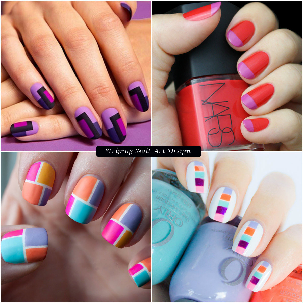 Color Blocked Striping nail art design