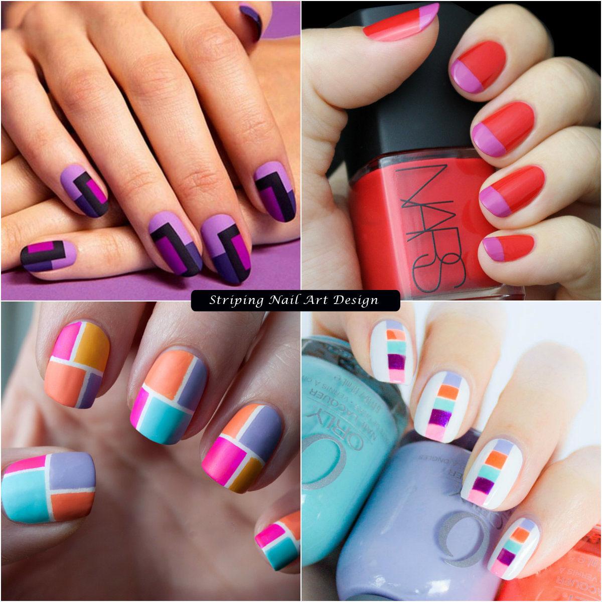 Color Blocked Striping nail art design
