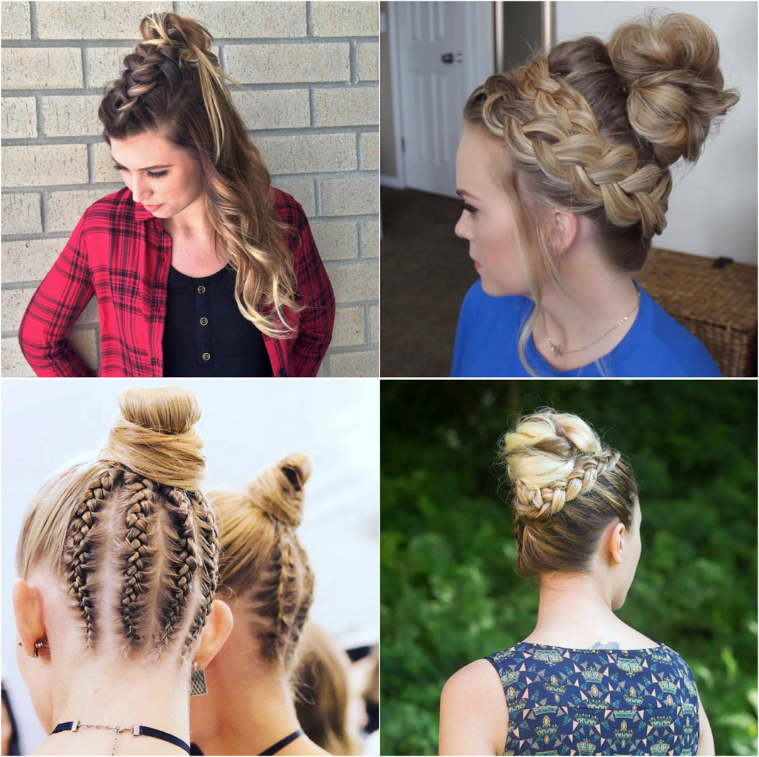 Dutch braided top knot hairstyle