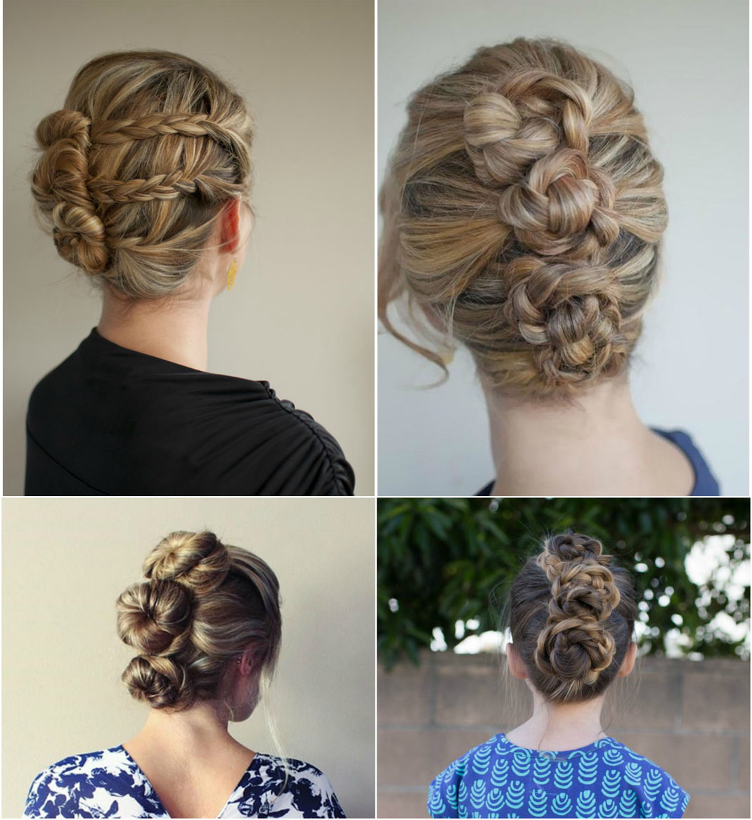 Loose triple bun hairstyle