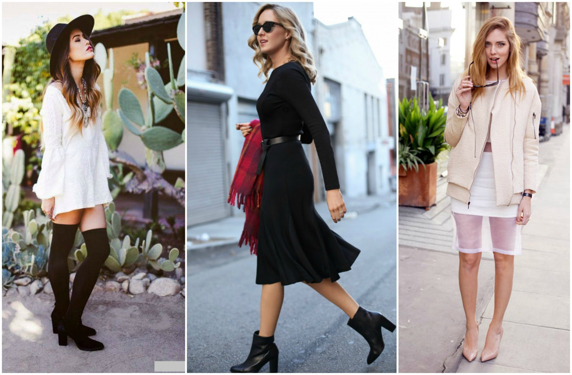 dresses to wear with boots | Midi dress with boots