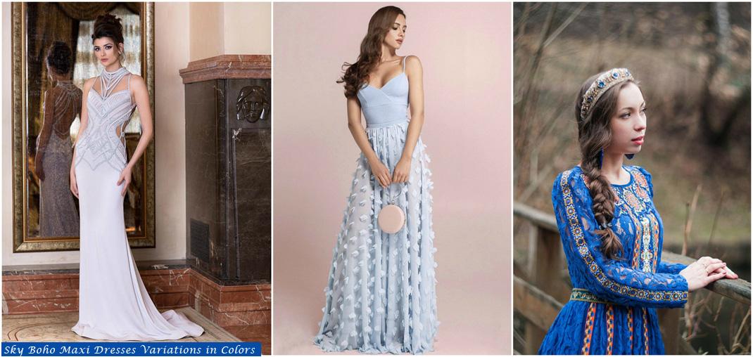 sky boho maxi dresses Variations in colors