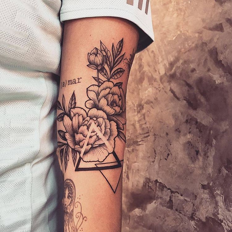 Rose with full branch tattoos - rose tattoo design ideas