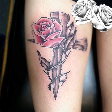 Rose with the Cross tattoos - rose tattoo design ideas